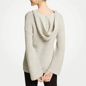Ann Taylor Ribbed Hooded Sweater Gray Size Medium